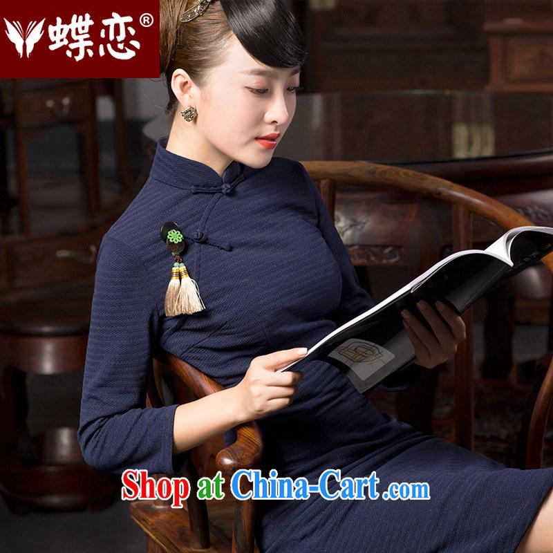 Butterfly Lovers 2015 spring new stylish improved temperament cheongsam dress retro elegant Chinese qipao 49,065 Tibetan cyan M