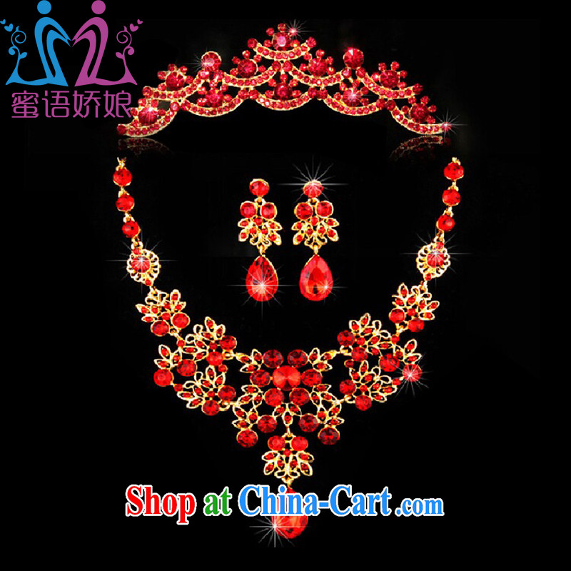 Honey, bride 2015 New Red necklace earrings Crown accessory bridal wedding tiaras and jewelry water drilling wedding dresses dresses jewelry red