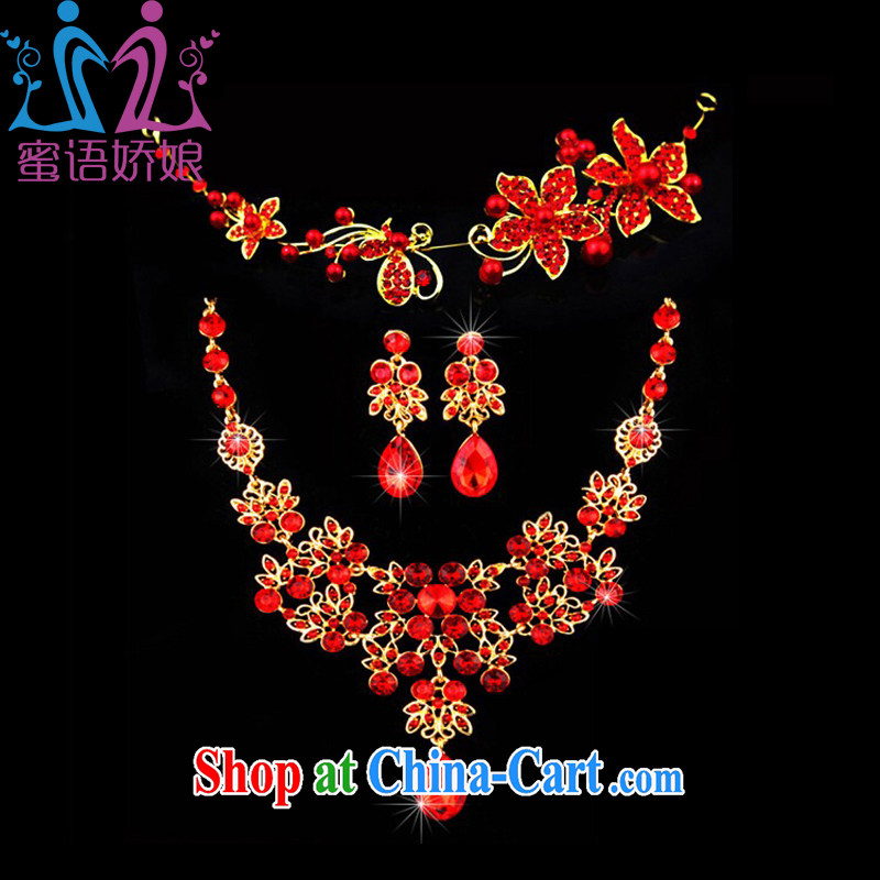 Honey, bride New Red dress dresses jewelry accessories necklace earrings Crown package bridal wedding dresses and jewelry and ornaments red
