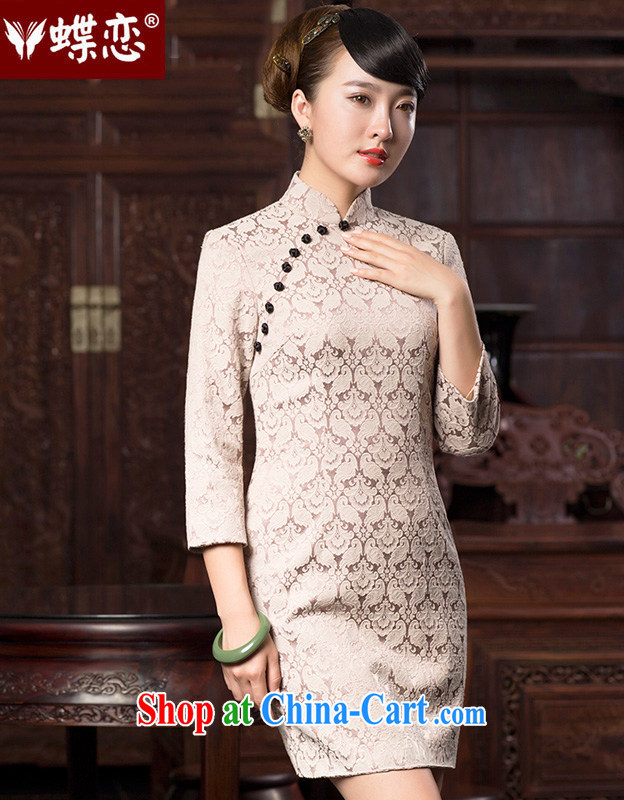 Butterfly Lovers 2015 spring new retro style jacquard cheongsam dress improved stylish 7 cuff cheongsam dress 47,070 White Bird tattoo XXL
