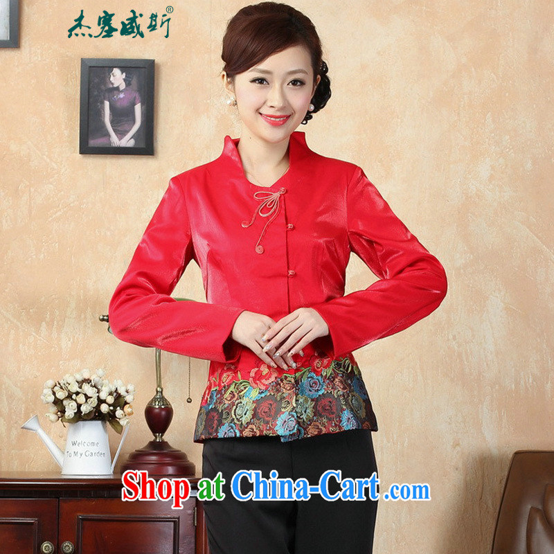 Jessup, new autumn and the elegant manually click the snap-up collar embroidered Tang jackets J 0072 red XXXL