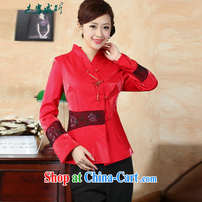 Jack Plug, autumn and winter, the autumn is the collar manual tray snaps embroidered Chinese Chinese dress jacket J 0071 red XXXL
