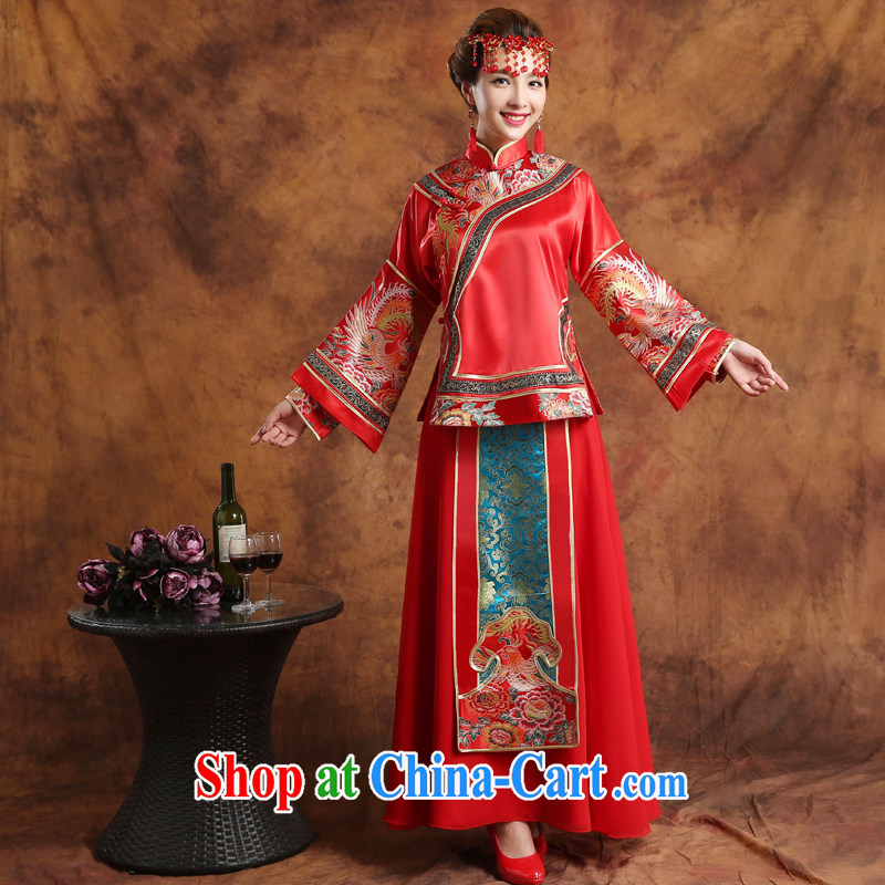 Qi wei served toast summer 2015 new Chinese wedding toast service bridal show reel service wedding toast serving Phoenix and long-sleeved wedding dresses embroidered kimono Show Q 14 red XL
