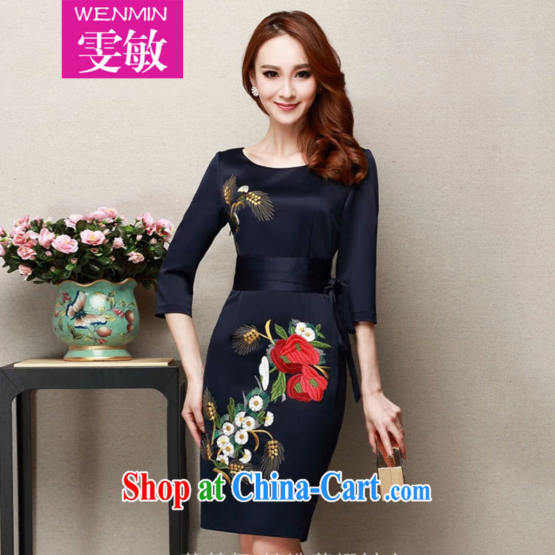 Wen Min fall 2014 with new elegant style evening gown embroidery cheongsam dress girls 8905 half blue XXXL