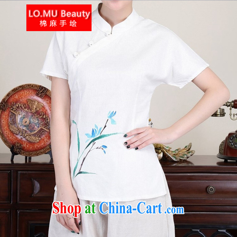 LO . MU Beauty autumn cotton Ma hand painted Orchid T-shirt ladies white tie short-sleeved cotton the Chinese China wind white XXL the XL
