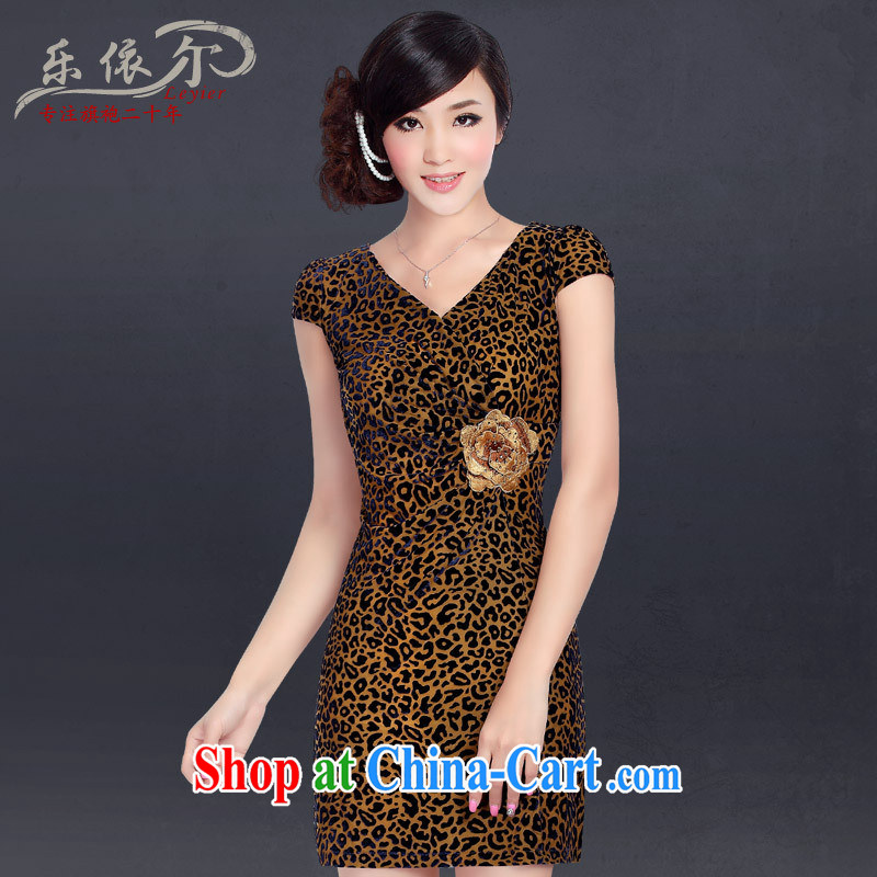 And, in accordance with a refreshing scouring pads beauty antique cheongsam dress improved stylish embroidered Leopard stretch sexy outfit summer Leopard XXL