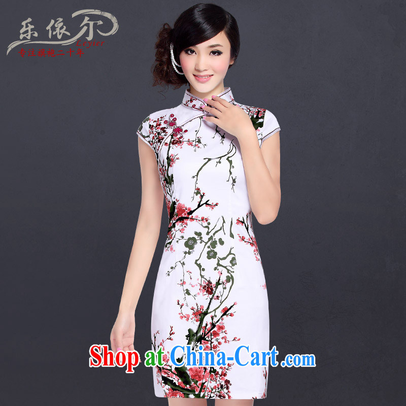 factory prices Direct retro-tie and collar cheongsam dress improved stylish summer Chinese beauty, elegant qipao ermine mantle XXL