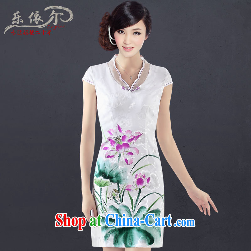 And, in accordance with new, hand-painted sexy cheongsam dress improved stylish Chinese Antique daily elegant qipao dress girls summer white XXL