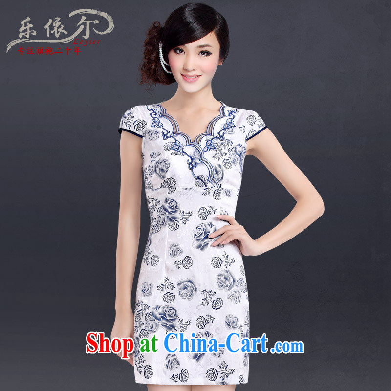 And, in accordance with new blue ladies dress qipao improved stylish embroidered daily sexy cheongsam Chinese Antique female Blue on white flower XXL