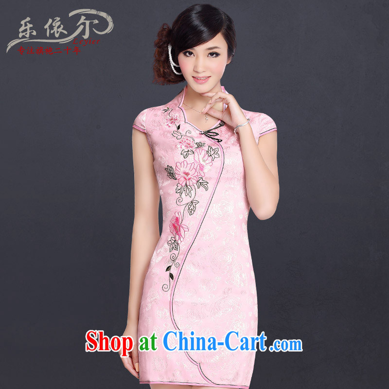 Music in summer 2014 improved stylish and elegant cheongsam dress Chinese Antique embroidered sexy everyday dresses female white _factory direct_ XXL
