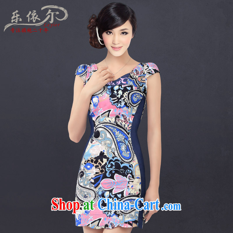 Music in summer new stylish and improved small cheongsam Ethnic Wind short-sleeved short large tread daily outfit blue XXL
