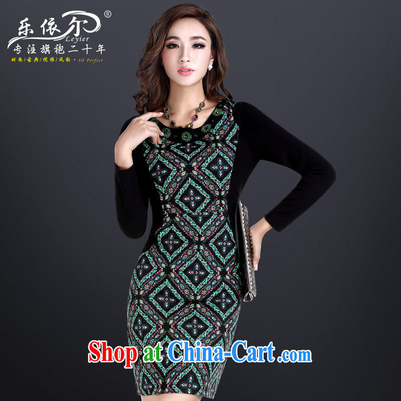 Music in Spring and Autumn and retro dresses beauty and elegant embroidered long-sleeved dresses and stylish Ethnic Wind cheongsam dress suit XXL