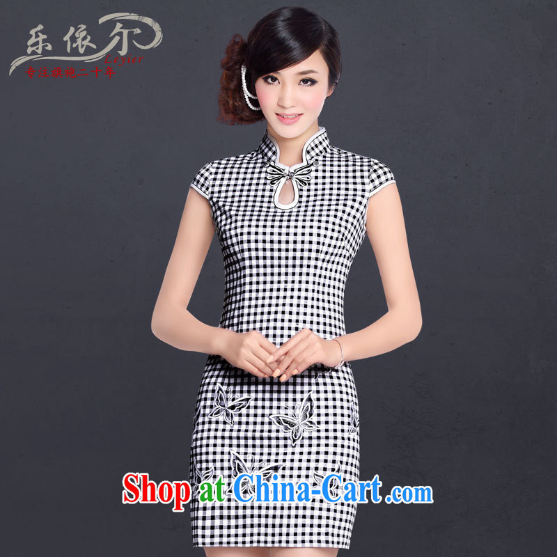 And, in accordance with spring and summer new short-sleeved qipao dress improved stylish personalized grid three-dimensional embroidery embroidery cheongsam summer tartan color XL