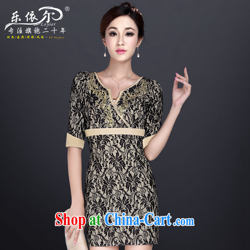 And in autumn and the new, the cuff antique dresses sexy and elegant embroidery cheongsam 2013 lace daily outfit apricot XXL