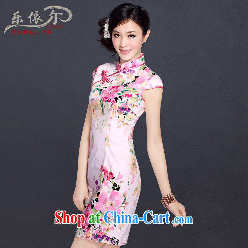 Music in classic burglary, improved stylish short-sleeve dresses summer Chinese Antique daily stamp cheongsam dress pink XXL