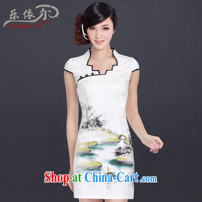And, in accordance with 2013 new Chinese Antique hand-painted short-sleeved cheongsam dress improved stylish everyday dresses skirts girls summer white XXL