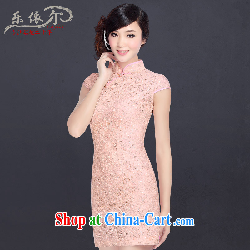 Music in summer 2013 with new, improved cheongsam stylish, for lace cheongsam dress Chinese daily retro pink M