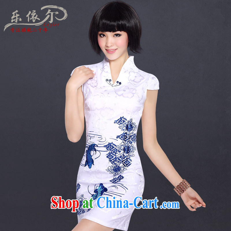 America in 2014 new stylish embroidered cheongsam improved summer day Chinese qipao cheongsam dress for white XXL