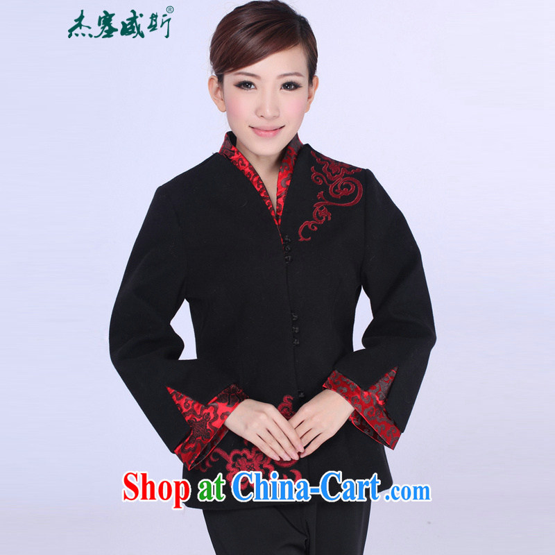 Jessup, autumn and winter, the autumn is the collar embroidered hand tie Chinese T-shirt girl jacket J 0062 black XXXL