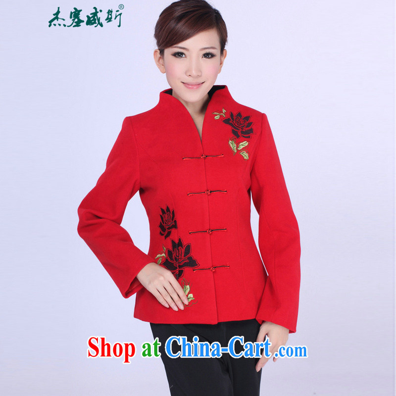 Jessup, autumn and winter, the autumn is elegant, for manually snap embroidered Sau San Tong replacing T-shirt girl jacket J 0061 red XXXL