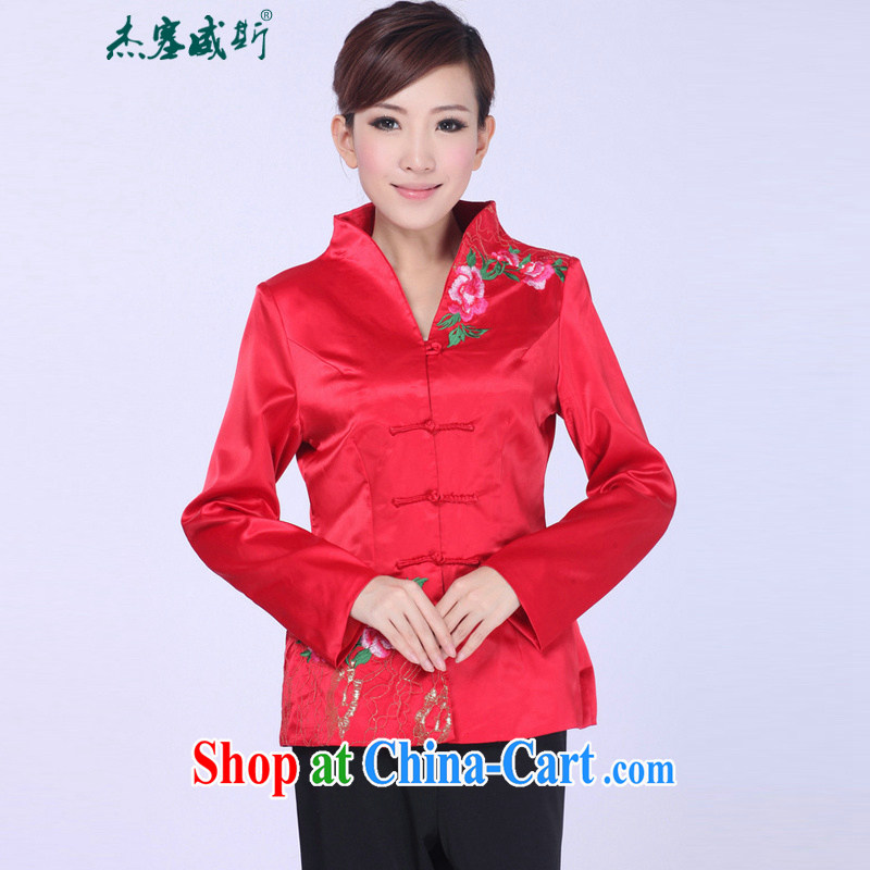 Jessup, autumn and winter, new fall retro fitted the collar embroidered hand tie Sau San Tong replacing T-shirt girl jacket J 0060 red XXXL