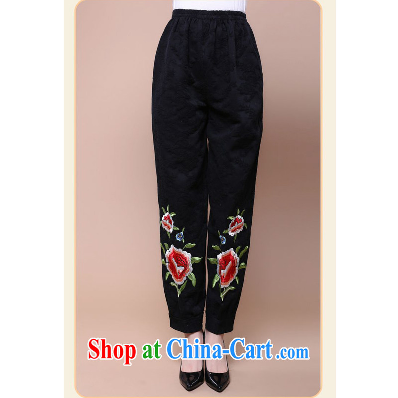 Forest narcissus fall 2014 the new loose the code in older mothers with cotton jacquard Elastic waist short pants loaded FGR - B 131 black XXXL
