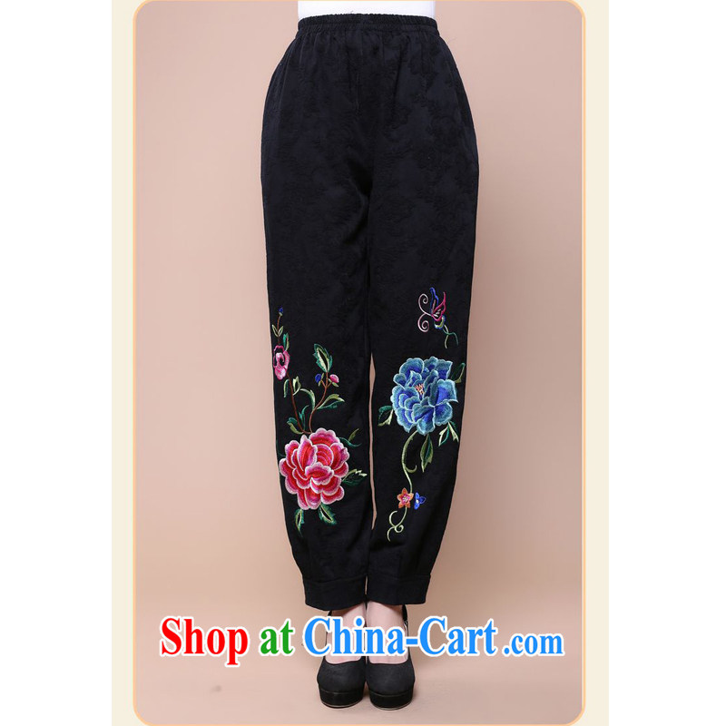 Forest narcissus fall 2014 the new loose the code in older mothers with elasticated waist cotton jacquard Tang fitted pants FGR - B 130 black XXXL