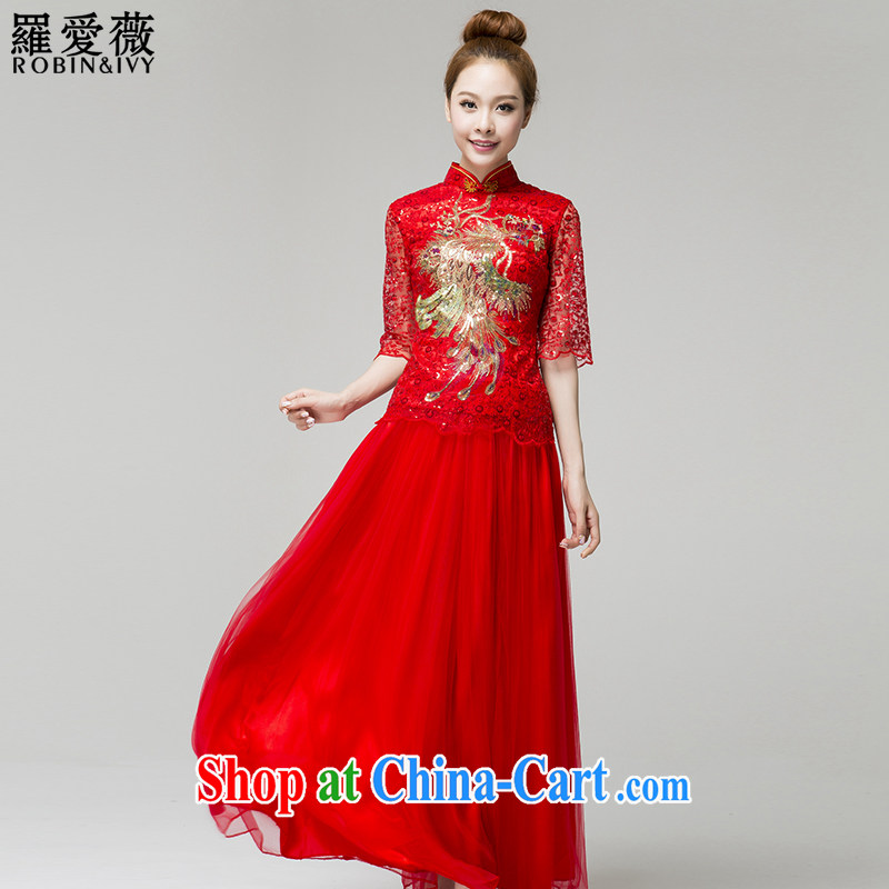 Paul and love Ms Audrey EU Yuet-mee, RobinIvy) toast clothing qipao new paragraph in 2015 cuff bridal wedding dresses Q 13,653 red XXL