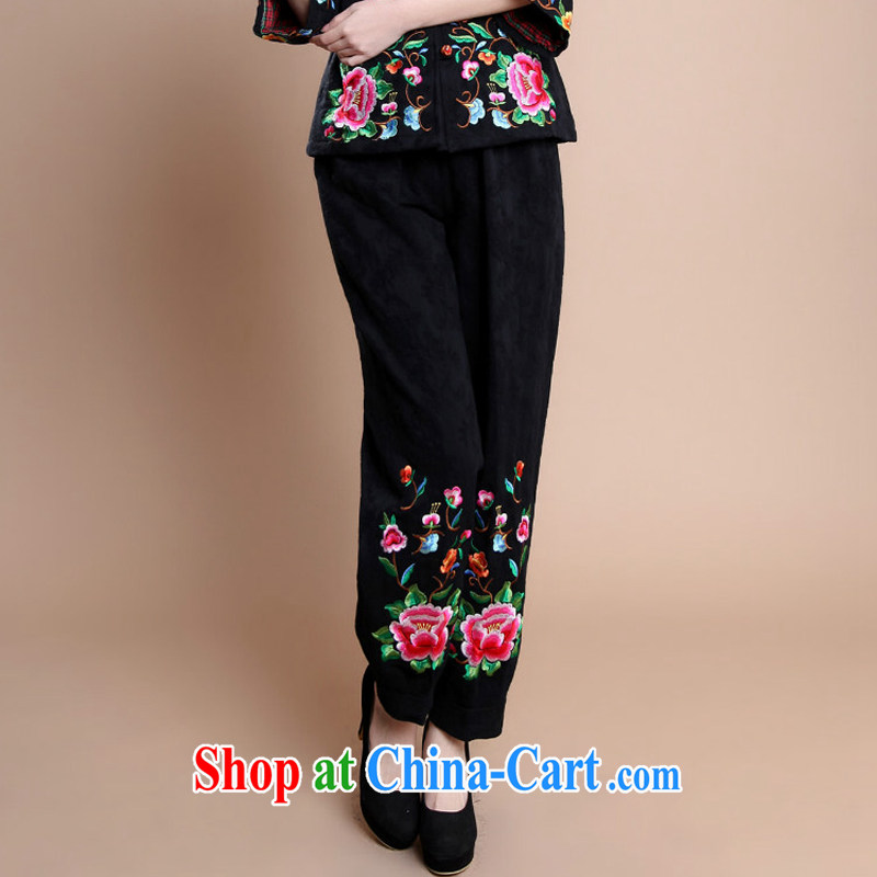 Arrogant season 2014 winter new, older women with long-sleeved ethnic wind mother women trousers relaxed and stylish embroidered cotton larger Tang black XXXL