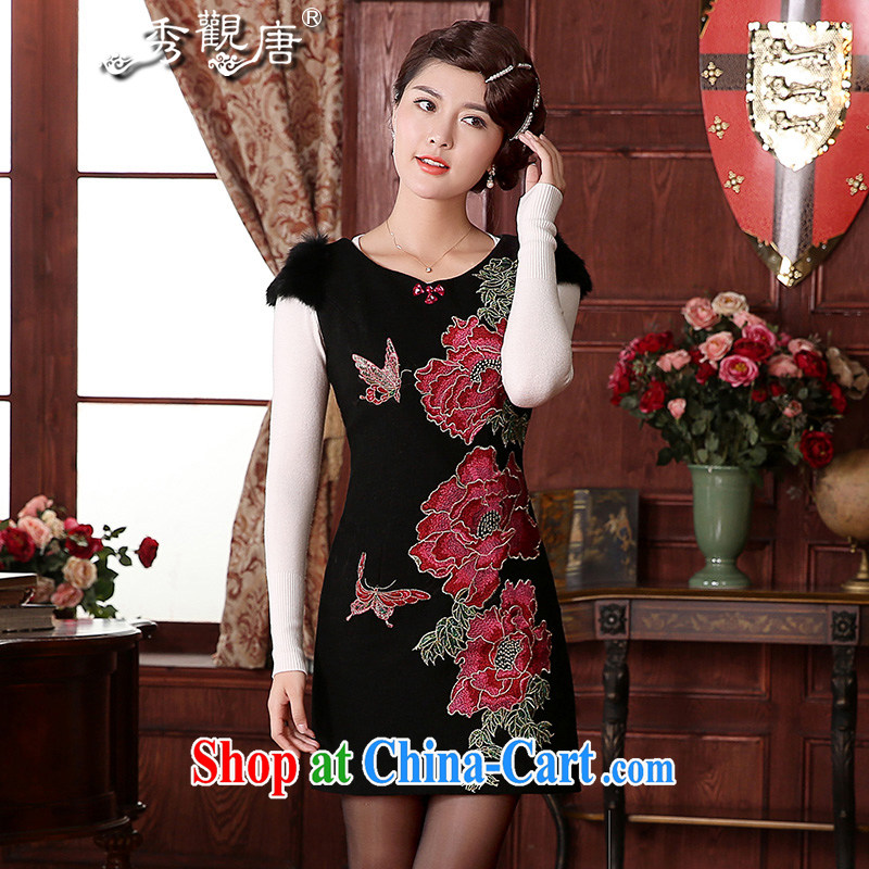 The CYD HO Kwun Tong' butterfly fatally jealous 2015 winter clothing gross cheongsam dress so retro improved winter embroidered dresses FW 4925 black XXL