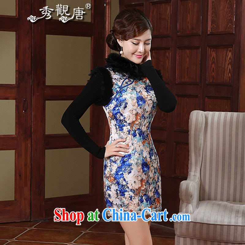 The CYD HO Kwun Tong' Mr NGAN Kam-chuen also fall and winter with improved cheongsam 2015 new rabbit hair for retro girl dresses QW 4908 fancy XXL