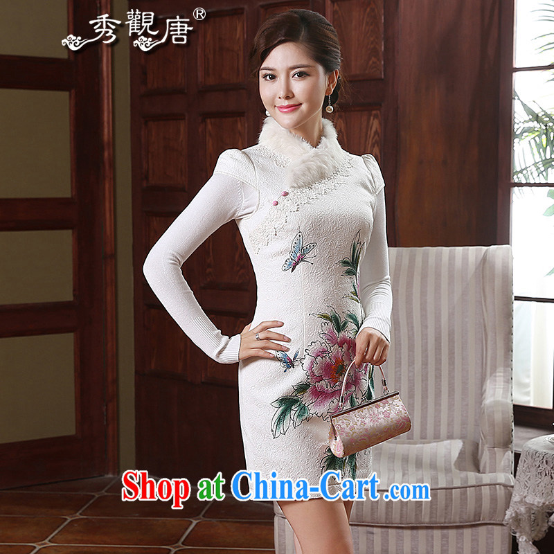 The CYD HO Kwun Tong' Butterfly in love winter clothes and hair tie-clip cotton robes 2014 autumn and winter improved stylish dresses QD 4915 white XL