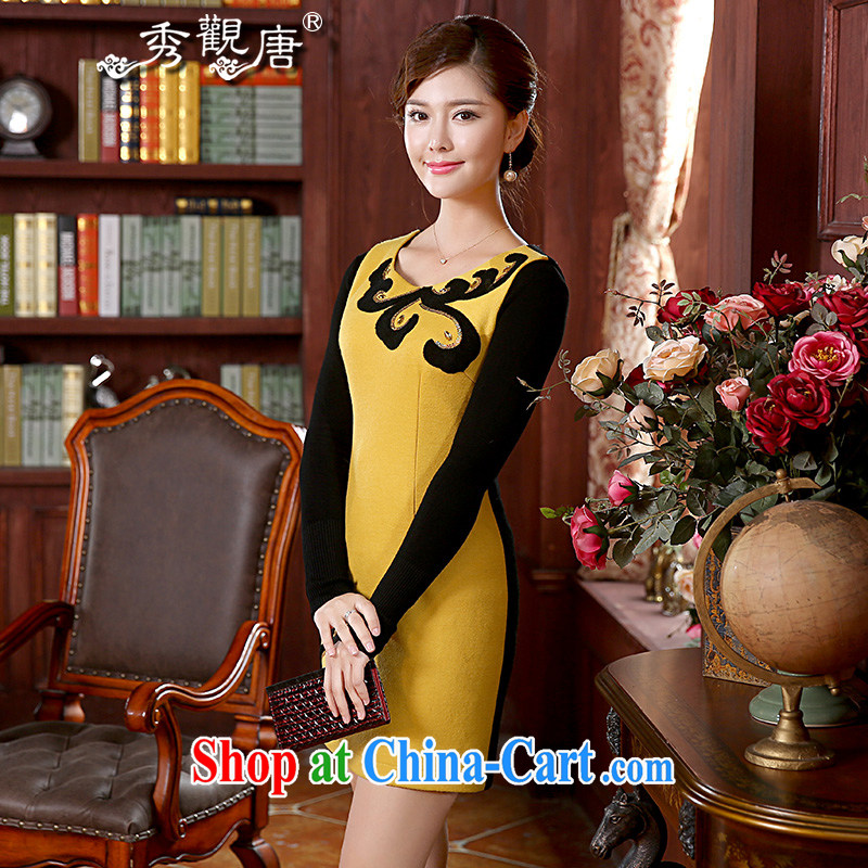 The CYD HO Kwun Tong' autumn and a stunning Winter clothing retro improved dresses 2015 new, so gross girls dresses skirts FW 4901 yellow S