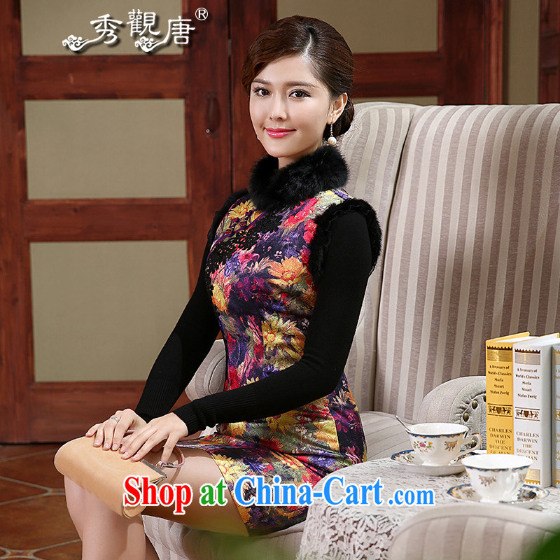 The CYD HO Kwun Tong' colors and elegant 2015 winter clothes folder cotton robes and hair style new style beauty warm cheongsam dress QW 490 fancy S