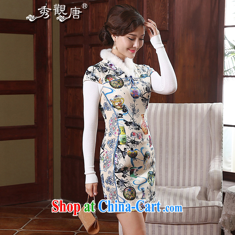 The CYD HO Kwun Tong' colorful bottle winter clothing stamp folder cotton cheongsam Chinese improved retro ethnic wind dresses QD 4913 fancy S