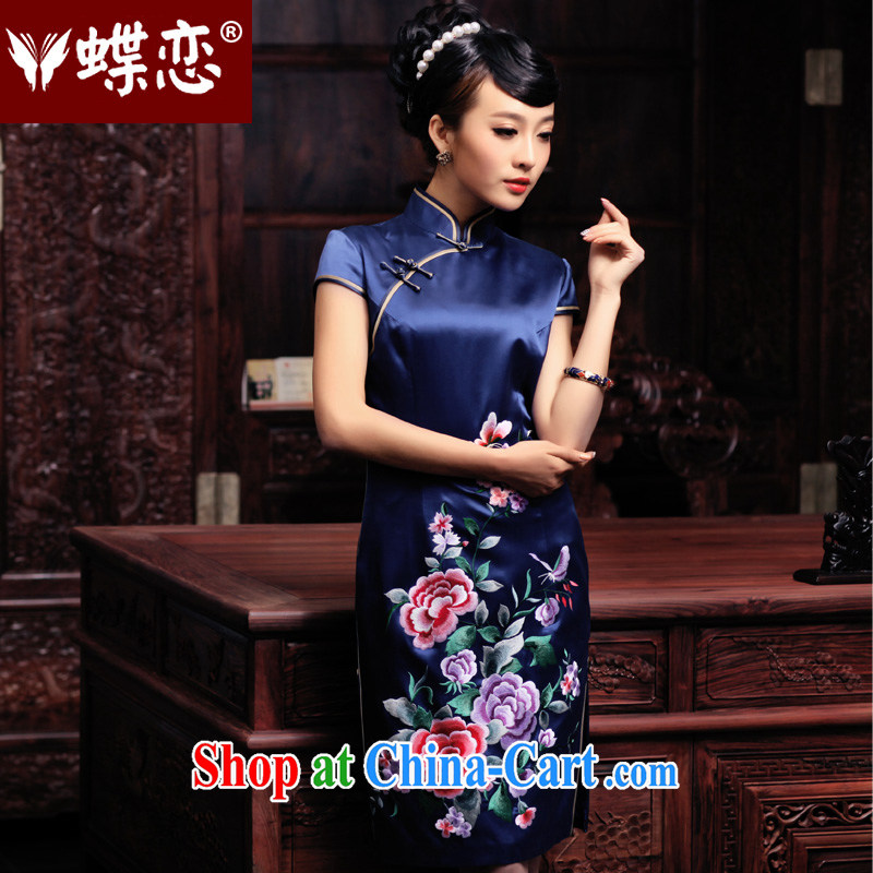 Butterfly Lovers 2015 spring new improved stylish and elegant qipao dresses hand embroidered heavy Silk Cheongsam 49,084 blue - pre-sale 20 days XL
