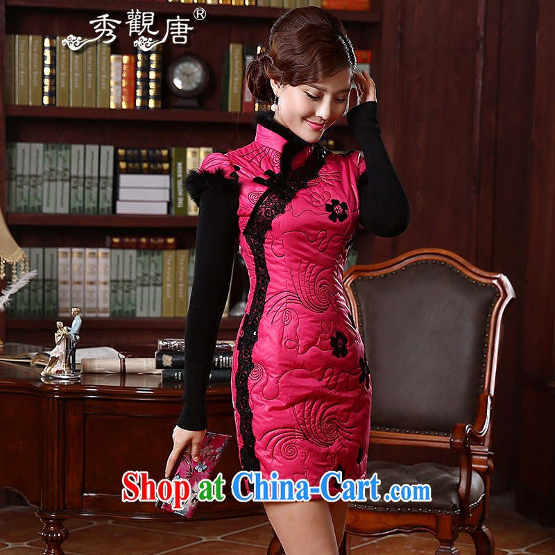 The CYD HO Kwun Tong' love of autumn and winter quilted clothes dresses 2015 new stylish retro style beauty warm cheongsam dress QD 4921 by red XL