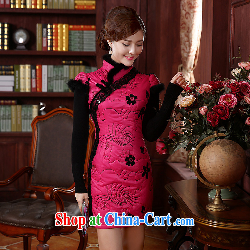The CYD HO Kwun Tong' land of autumn and winter quilted clothes dresses 2015 new stylish retro style beauty warm cheongsam dress QD 4921 by red XL, Sau looked Tang, shopping on the Internet