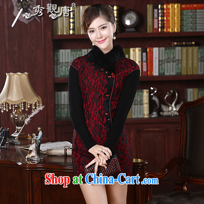 The CYD HO Kwun Tong' Night Hong Kong Red Cross winter fitted with cotton robes retro improved 2015 gross new collar dresses QD 4904 and black and red XXL