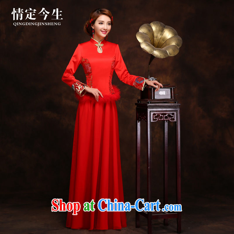 Love Of The bride's life the cheongsam dress wedding dress dress long red retro style autumn and winter red XXL