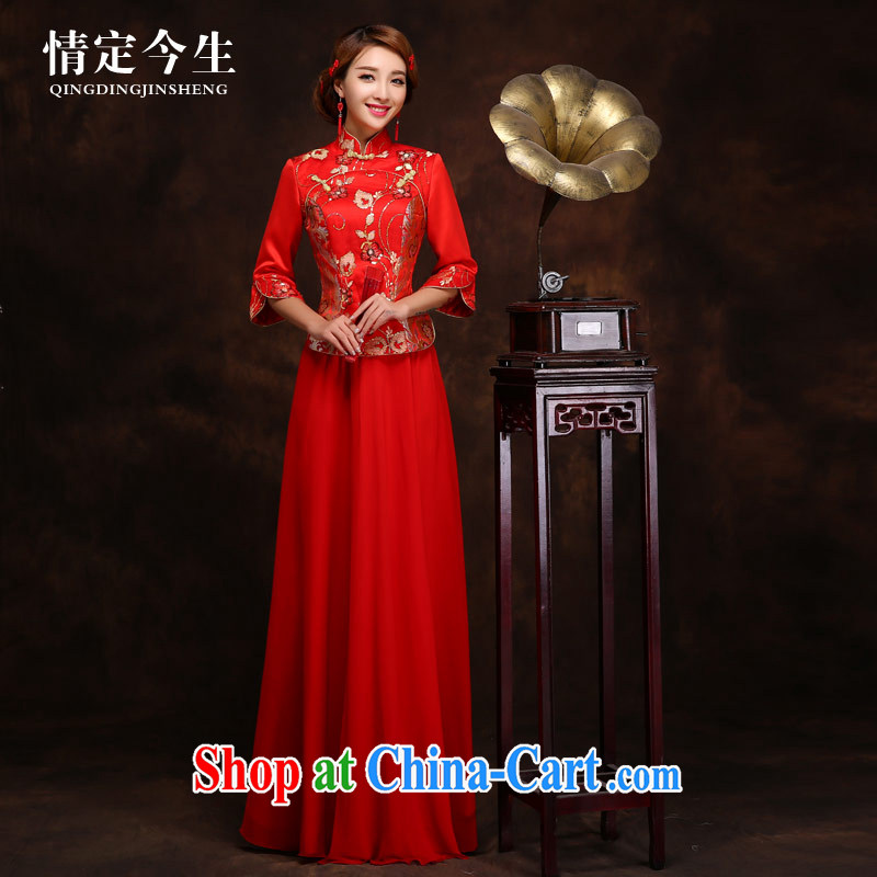 Love Life spring and summer Chinese qipao Long Red Beauty embroidered bride's wedding toast serving the door female Red XXXL