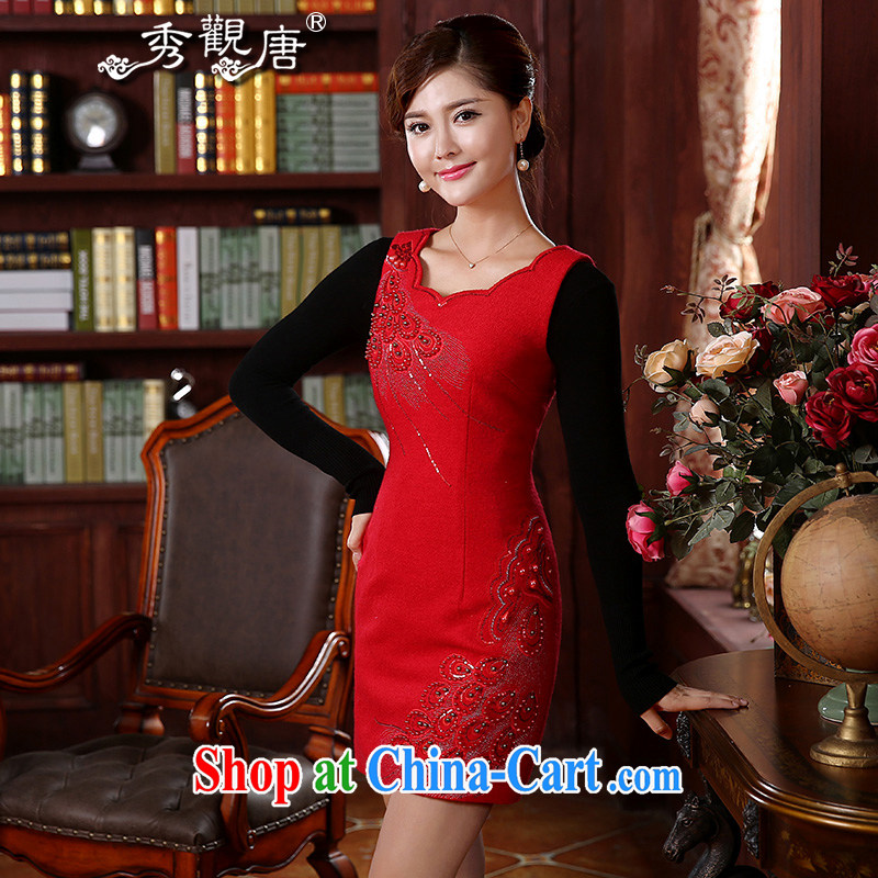 The CYD HO Kwun Tong' Fung Cheung-kwok 2015 autumn and winter clothing bridal dresses retro style wool? dresses FW 4919 red XXL