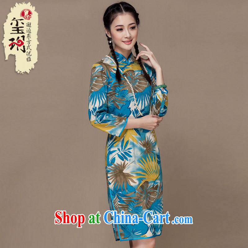 Yin Yue seal autumn 2015 New Long cotton robes the retro daily improved cheongsam ethnic wind Chinese picture color XXL