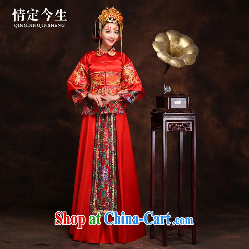 Love Life Chinese long Phoenix cheongsam Sau Wo service wedding dress retro married Yi red toast clothing loose Chinese phoenix Crown + Sau wo service M