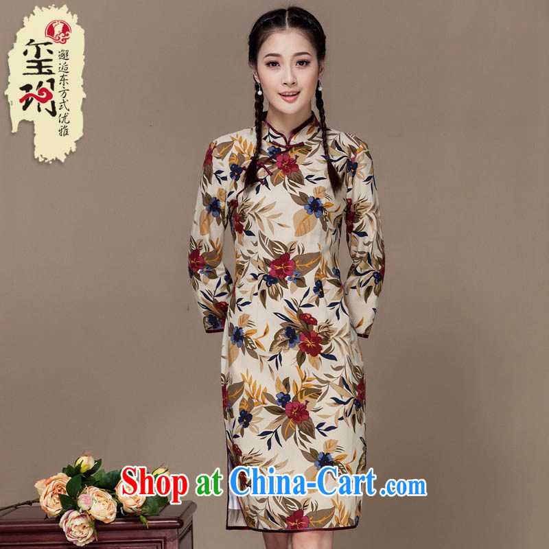 Yin Yue seal autumn 2015 new units the large flower cheongsam linen arts long-sleeved improved daily cheongsam dress picture color S