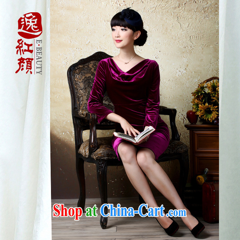 proverbial hero once and for all, covering China, the cuff velvet dress autumn new Ethnic Wind short skirt retro art van drapery 2 XL