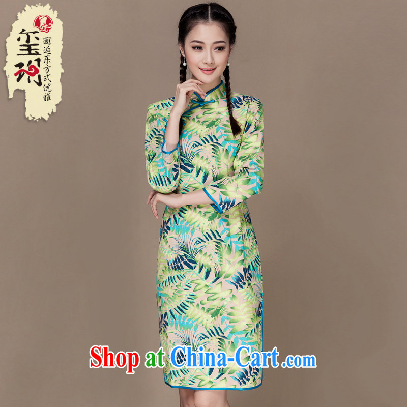 Yin Yue seal 2015 autumn cotton the cheongsam elegant 7 Korea cuff wind retro dresses dresses picture color XL