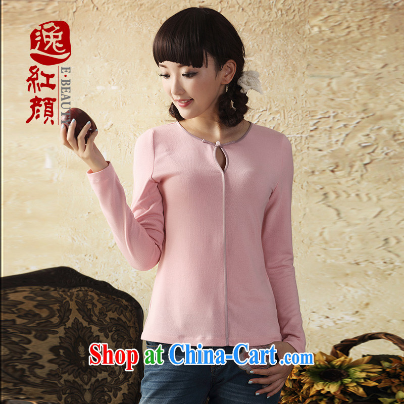 once and for all to be fatally jealous Heart long-sleeved Chinese knitting T-shirt Autumn with Chinese wind Chinese Tang Women's clothes ethnic wind pink L