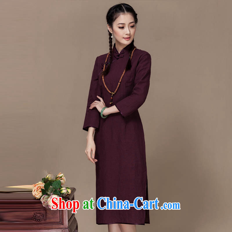 Yin Yue seal 2015 autumn new linen dresses of Korea wind energy energy improved daily long-sleeved long cheongsam dress brown M
