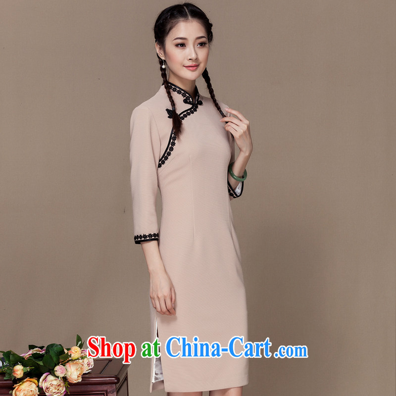 Royal Seal Yin Yue 2015 autumn new republic of elegant antique dresses women improved daily 7 in a sleeve cheongsam dress beige L